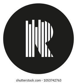Modern Cool R Letter Lines Rhythm Logo Icon Emblem
