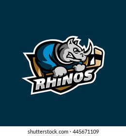 Modern cool Rhinos logo for a hockey sport team