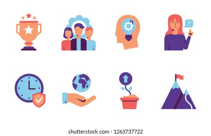 Modern Core values icon set with team, quality, innovations, customers, reliability, responsibility and growth concepts in purple and blue tones. Colorful icons for web isolated on white background.