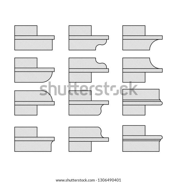 Modern Cornice Cross Section Vector Illustration Stock