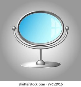Modern cosmetic mirror with silver metal frame and handle isolated on gray background. Vector eps10 illustration. Raster file included in portfolio