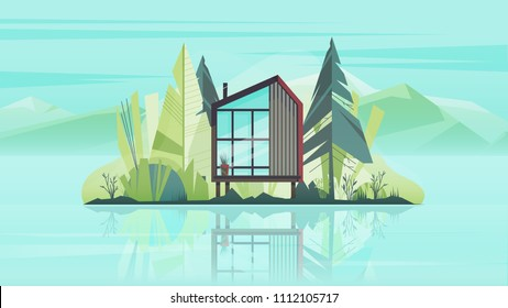 Modern Cottage House Exterior, Villa Building Horizontal Banner with trees, lake and the mountains. Vector illustration