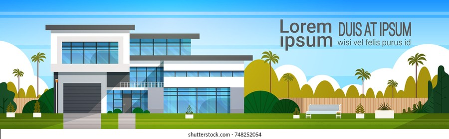 Modern Cottage House Exterior, Villa Building Horizontal Banner with Copy Space Flat Vector Illustration