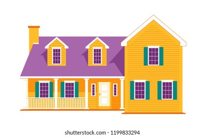 Modern cottage house. Real Estate concept. Flat Style American or Scandinavian Townhouse. Vector illustration. Isolated