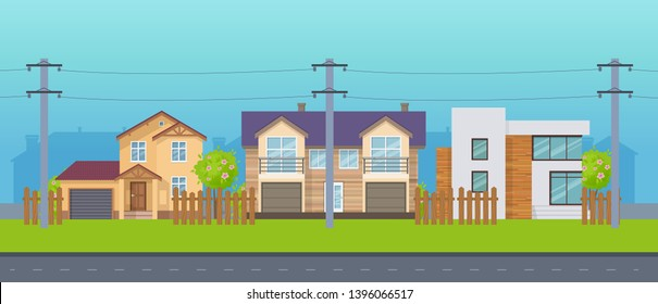 Modern cottage village, country houses with electric poles and cable on the street. Facade of real estate, buildings with land and plantings, architectural structures, power lines vector illustration.