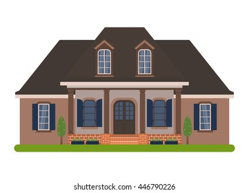Modern country house in Acadian style. Vector illustration of a tourist house for rent, sale, booking and living, isolated on white background.