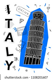 Modern country sightseeing. T-Shirt Design & Printing, clothes, bags, posters, invitations, cards, leaflets etc. Vector illustration hand drawn. Italy. Pisa