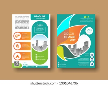 Modern cover brochure flyer design template. City background business book leaflet cover design in A4 magazines, posters, booklets, wallpaper, banners, corporate presentation.