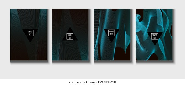 Modern Cover Design, Minimal Futuristic Vector Music Poster. Geometric Design, Waves, Zigzag, Lines, Stripes Corporate Identity. Minimal Business Cover, Banner. Simple Clean Journal Template