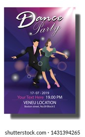 modern cover design Poster dance party Cartoon Ilustration