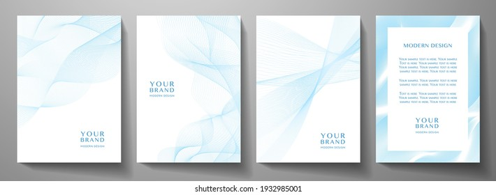 Modern cover design set. Blue, white abstract line pattern (guilloche curves). Creative wavy stripe vector collection for business background, certificate, brochure template, magazine layout
