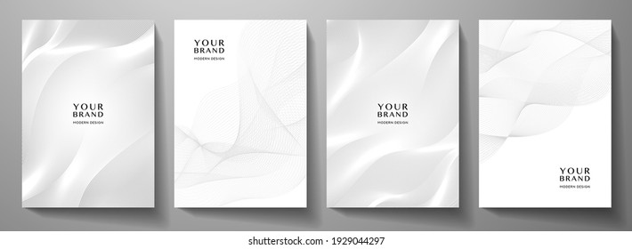 Modern cover design set. Gold abstract line pattern (guilloche curves) in monochrome colors. Premium white wavy stripe vector template for business page background, certificate, brochure, notebook