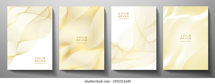 Modern cover design set. Gold abstract line pattern (guilloche curves) in premium gold color. Luxury golden stripe vector for business background, certificate, brochure template, magazine layout