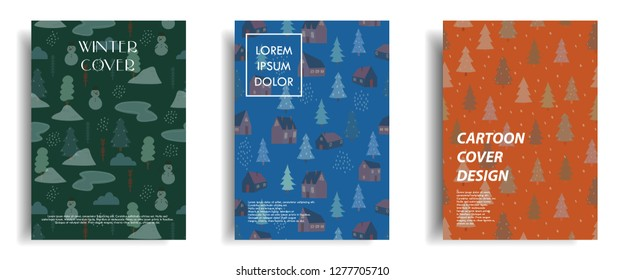modern cover design template with colorful cute simple winter theme pattern element