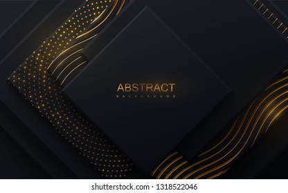 Modern cover design. Vector illustration. Advertising banner design. Abstract background with black geometric planes and shimmering golden patterns. Architectural composition with square shapes