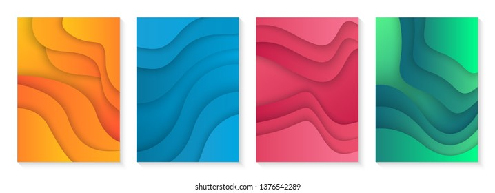 Modern cover design. Wavy shape with colorful gradients. useful for posters, covers, brochure and banner.