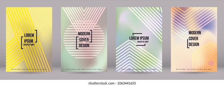 Modern Cover Design for your Business with Abstract Lines and Holography Background. Futuristic Poster, Flyer, Layout with Liquid Pattern for Branding, Identity. Vector minimalistic brochure. A4 set