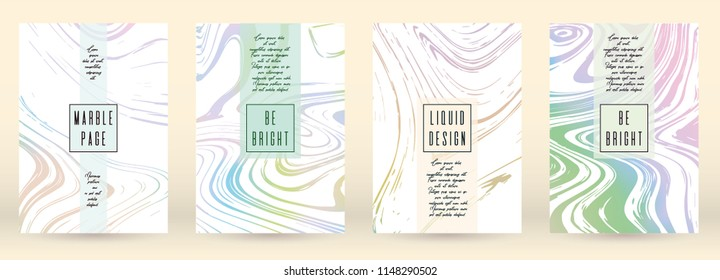Modern Cover Design for your Business with Abstract Lines and Holography Background. Marble Poster, Flyer, Layout with Liquid Pattern for Branding, Identity. Vector minimalistic brochure.