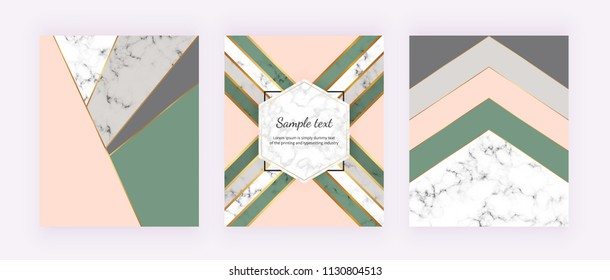 Modern cover with geometric design, golden lines, pink, grey and green triangular shapes. Fashion backgrounds for invitation, wedding, placard, birthday, brochure, banner, cover, layout, card, flyer.