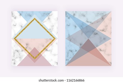 Modern cover with geometric design, golden lines, pink and blue triangular shapes. Fashion backgrounds for invitation, wedding, placard, birthday, brochure, banner, cover, layout, card, flyer