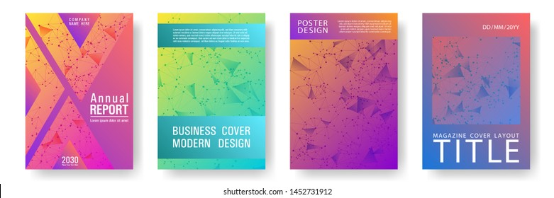 Modern cover layout design. Global network connection low poly grid. Interlinked nodes, molecular or social media, web structure concept. Network nodes information technology cover.