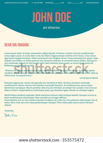 Modern Cover Letter Cv Resume Template Design In Turquoise Red Colors
