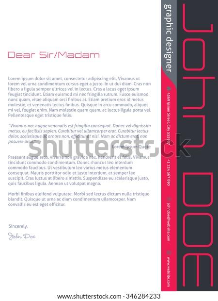 Modern Cover Letter Cv Resume Template Stock Vector Royalty Free 346284233
