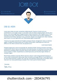 Modern cover letter design with blue white colors