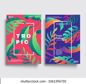Modern cover templates.Tropic patterns with bright color gradients. Eps10 vector.