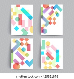 Modern covers design. Simple geometric shapes multiply. A4 format template for brochure, banner,poster,presentation etc.