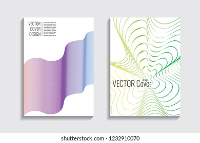 Modern covers with gradient wavy line shapes. Futuristic minimal design with a multi-colored bionic background. A4 format. Eps10 vector. For poster, layout, placard, grunge paper, card, book.
