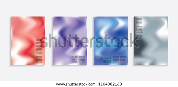 Modern covers with gradient wavy shapes. Futuristic minimal design with a multi-colored bionic background. A4 format. Eps10 vector. For poster, layout, placard, grunge paper, card, book.