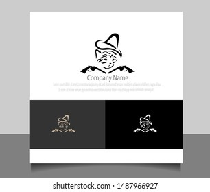 Modern cowboy cat logo template ilustration vector with flat style. Creative logo design in eps 10.