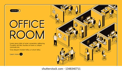 Modern coworking center with individual workplaces isometric projection vector web banner. Company employees working in office cabins line art illustration. Business enterprise landing page template
