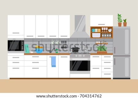 Modern Cozy Kitchen Interior Flat Style Stock Vector Royalty Free