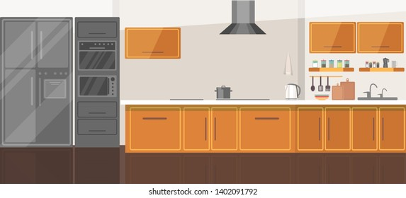 Modern cozy kitchen room interior flat vector illustration. Home cooking appliances. Wooden furniture design drawing. Silver grey technical equipment. Fridge, stove, microwave, oven, sink