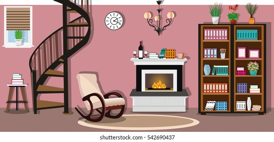 Modern cozy living room interior design with stylish furniture - rocking chair, bookcase, fireplace and stairs  to the second floor.  Flat style vector illustration.