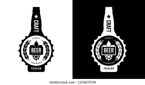 Modern craft beer drink isolated vector logo sign branding for brewery, pub, brewhouse or bar. Premium quality bottle logotype tee print badge illustration. Brewing fest fashion t-shirt emblem design