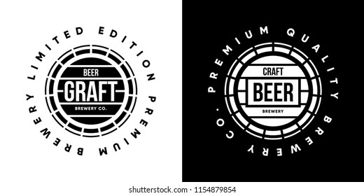 Modern craft beer drink isolated vector logo sign for brewery, pub, brewhouse or bar. Premium quality barrel logotype tee print badge illustration. Brewing fest fashion t-shirt emblem design set.