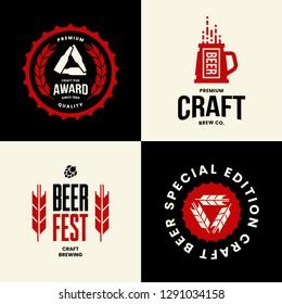 Modern craft beer drink isolated vector logo sign for bar, pub, store, brewhouse or brewery. Premium quality mug and bottle logotype emblem illustration set. Brewing fest t-shirt badge design bundle.