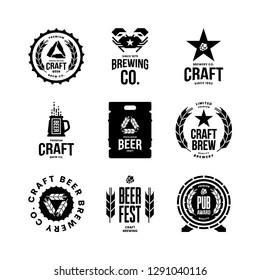 Modern craft beer drink isolated vector logo sign for bar, pub, store, brewhouse or brewery. Premium quality mug, barrel, keg logotype emblem illustration set. Brewing fest t-shirt badge design bundle