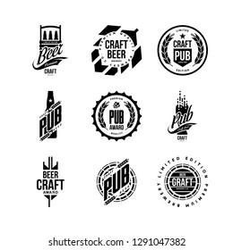 Modern craft beer drink isolated vector logo sign for bar, pub, store, brewhouse or brewery. Premium quality bottle, barrel logotype emblem illustration set. Brewing fest t-shirt badge design bundle.