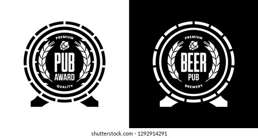Modern craft beer drink isolated vector logo sign for bar, pub, store, brewhouse, brewery. Premium quality wooden barrel logotype illustration set. Brewing fest fashion t-shirt badge design bundle.