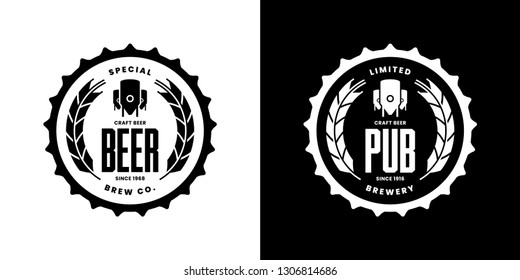 Modern craft beer drink isolated vector logo sign for bar, pub, store, brewhouse or brewery. Premium quality manufacture logotype emblem illustration set. Brewing fest t-shirt badge design bundle.