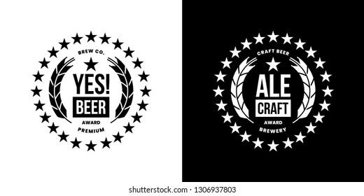 Modern craft beer drink isolated vector logo sign for bar, pub, store, shop, brewhouse or brewery. Premium quality emblem logotype illustration set. Brewing round fest t-shirt badge design bundle.