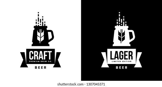 Modern craft beer drink isolated vector logo sign for bar, pub, store, brewhouse or brewery. Premium quality mug logotype emblem illustration set. Brewing fest fashion t-shirt badge design bundle.