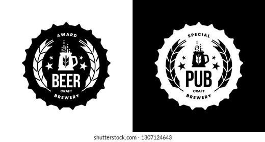 Modern craft beer drink isolated vector logo sign for bar, pub, store, brewhouse or brewery. Premium quality mug logotype emblem illustration set. Brewing fest round t-shirt badge design bundle.