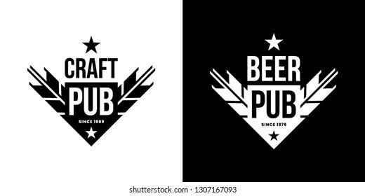 Modern craft beer drink isolated vector logo sign for bar, pub, store, brewhouse or brewery. Premium ear arrow logotype emblem illustration set. Brewing fest fashion t-shirt badge design bundle.