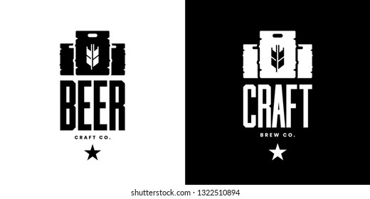 Modern craft beer drink isolated vector logo sign for bar, pub, store, brewhouse or brewery. Premium quality keg logotype emblem illustration set. Brewing fest fashion t-shirt badge design bundle.