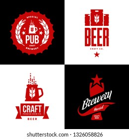 Modern craft beer drink isolated vector logo sign for bar, pub, store, brewhouse or brewery. Premium quality keg, mug and glass logotype illustration set. Brewing fest t-shirt badge design bundle.